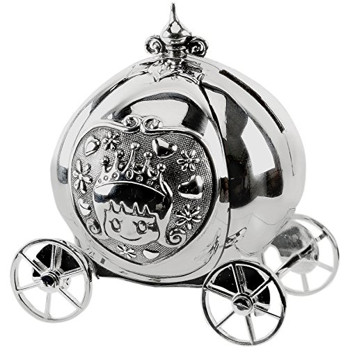 Girls Silver Cinderella Coach Money Box