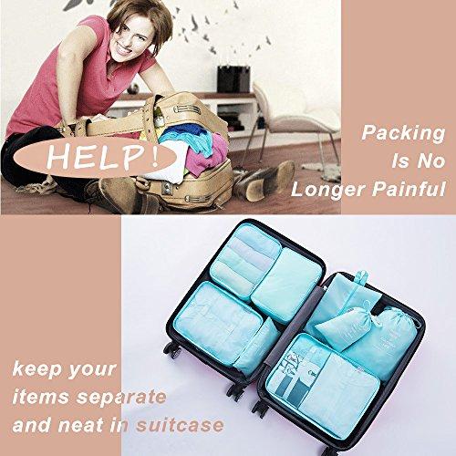 8 pcs Large Packing Cubes Travel Luggage Organizer Set With Shoe Bag (turquoise) by VEETON (Image #1)
