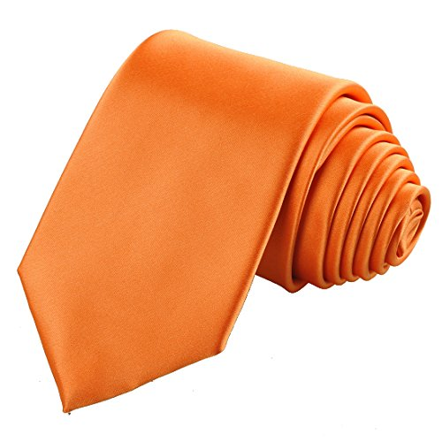 KissTies Pumpkin Orange Solid Satin Tie Necktie Wedding Ties + Gift Box