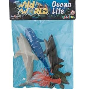 Salvaje mundo bolsa de 5 juguete plástico mar criaturas tiburones pequeños, delfines, pulpos, Sealion etc.