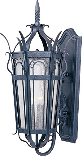 (Maxim 30042CDCF Cathedral 3-Light Outdoor Wall Lantern, Country Forge Finish, Seedy Glass, CA Incandescent Incandescent Bulb , 60W Max., Dry Safety Rating, Standard Dimmable, Fiber Fabric Shade Material, 2600 Rated Lumens)