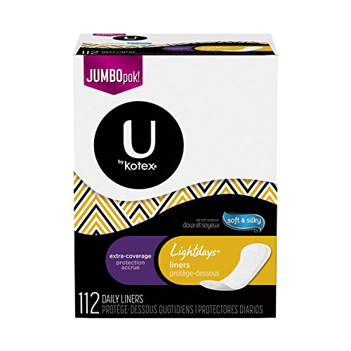 U by Kotex Lightdays Liners, Extra Coverage, Unscented, Jumbo Pack, 112 Count Kotex Panty Liners