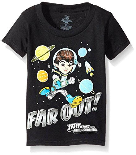 Disney Little Boys' Toddler Miles from Tomorrowland Far Out Short Sleeve T-Shirt, Black, 5T