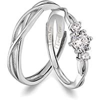 ANAZOZ I Love You His & Hers Matching Wedding Rings Adjustable CZ S925 Sterling Silver Rings for...