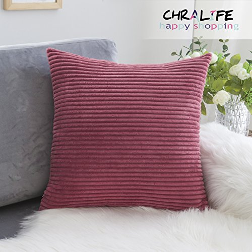 CHRALIFE Solid Color Corduroy Striped Square Throw Pillow Case Cushion Cover,1PC 18X18inch(45x45cm),Russet-Red