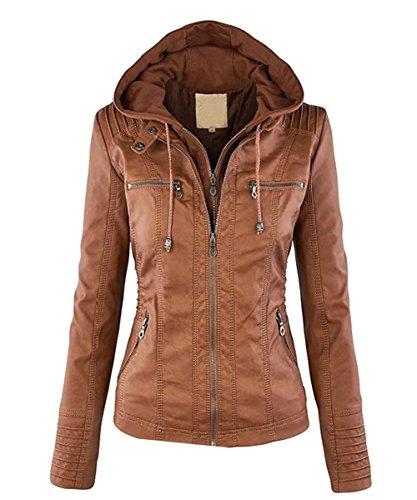 Cappotto Ecopelle Giacche Zipper Cardigan Giacca Donna Felpa Jacket Vintage Minetom Invernali Cachi Cappuccio cvYSpqnxO