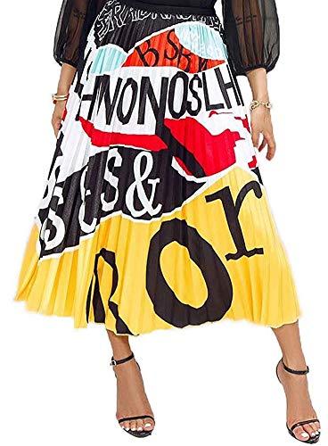 ThusFar Womens Graffiti Color Block Skirts Cartoon Printed Elastic Waist Swing Midi Skirt Yellow