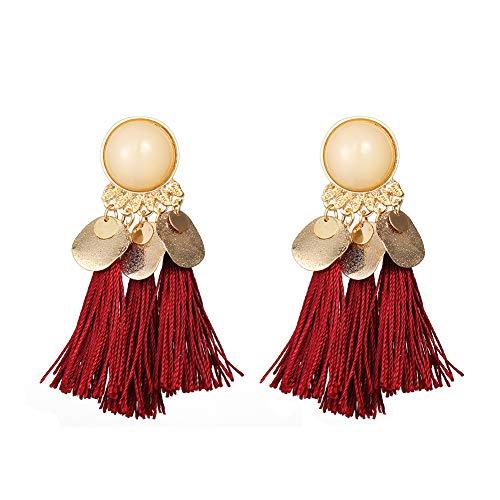 Quietcloud Gorgeous Earrings 1Pair Women Bohemian Tassels Sequins Ear Stud Dangle Earrings Banquet Jewelry -