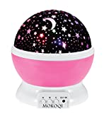 Night Lighting Lamp [ 4 LED Beads, 3 Model Light, 4.9 FT (1.5 M) USB Cord ] Romantic Rotating Cosmos Star Sky Moon Projector , Rotation Night Projection for Children Kids Bedroom (Pink)