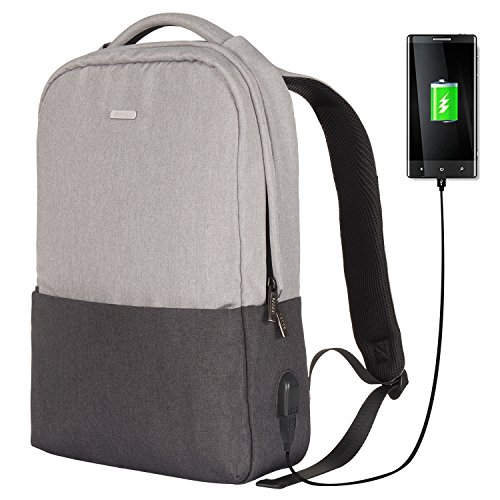School Backpack OSOCE Slim Laptop Bag with USB Charging Port Durable Casual Daypack Lightweight Fits up to 15 inch Tablet Notebook for Work Travel Business College (Grey)