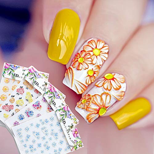 TailaiMei 5D Stereoscopic Embossed Flowers Nail Stickers - Engraved Pattern Self-adhesive Summer Nail Decals (4 Sheets)