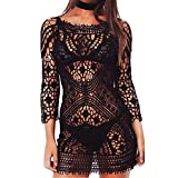 Beauty7 Women Beach Sexy Swimwear Bikini Bathing Suit Cover up Net Lace Crochet Sleeve Deep V Open Back Tassel Tie Black
