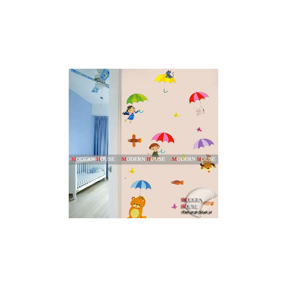 Modern House Kids with Umbrella removable Vinyl Mural Art Wall Sticker Decal