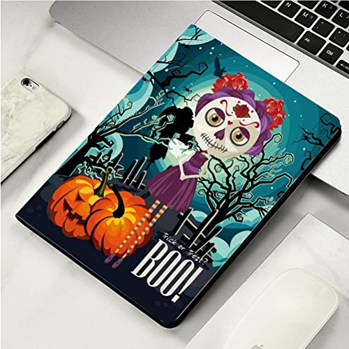 Stylish Print case for iPad air, ipad air2, Soft Back Ultra-Thin TPU Leather Smart case,Halloween Cartoon Girl with Sugar Skull Makeup Retro Seasonal Artwork Swirled Trees Boo Decorative Multicolor -