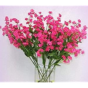 Inna-Wholesale Art Crafts New 12 Baby's Breath Spray Fuchsia HOT Pink Gypsophila Silk Bouquet Decorating Flowers - Perfect for Any Wedding, Special Occasion or Home Office D?cor 7
