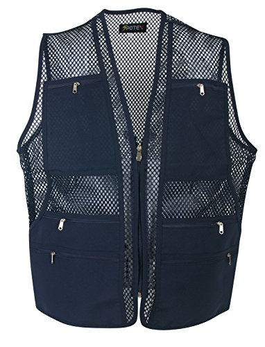 Men's 9 Pockets Work Utility Vest Military Photo Safari Travel Vest (M, Mesh Navy)