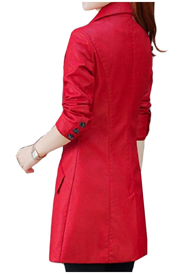 YUNY Women Basic Style Jacket Stripes Notch Collar Leather Trench Coat Red XS