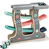 Jamohom Wooden Ramp Race Car, Race Track Parking Garage Set, 4 Wood Lanes with 4 Small Racers for 1...