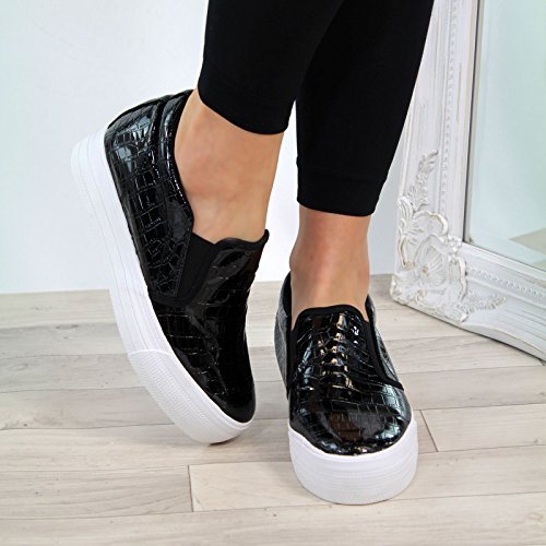 Larena Fashion New Womens Sneakers Hidden Wedge Zip Trainers Casual Pumps Ladies Sizes Black i9mhORX3i1