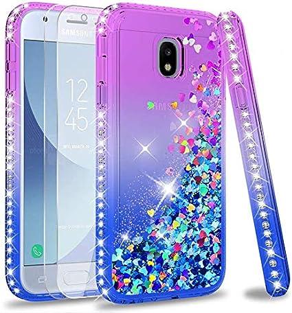 LeYi Coque Galaxy J3 2017 Etui avec Verre Trempé [Lot de 2], Fille Personnalisé Liquide Paillette Flottant Transparente 3D Silicone Gel Antichoc ...