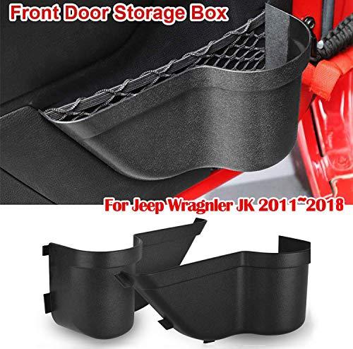 Heart Horse JK Front Door Storage Pockets Side Organizer Box for 2011-2018 Jeep Wrangler JK JKU 2/4-Door Interior Accessories, Door Net Pocket Replacement(Black)