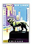 Chicago, USA - Bronze Lion Statues - Art Institute of Chicago - United Air Lines - Vintage Airline Travel Poster by Joseph Binder c.1958 - Master Art Print - 13in x 19in