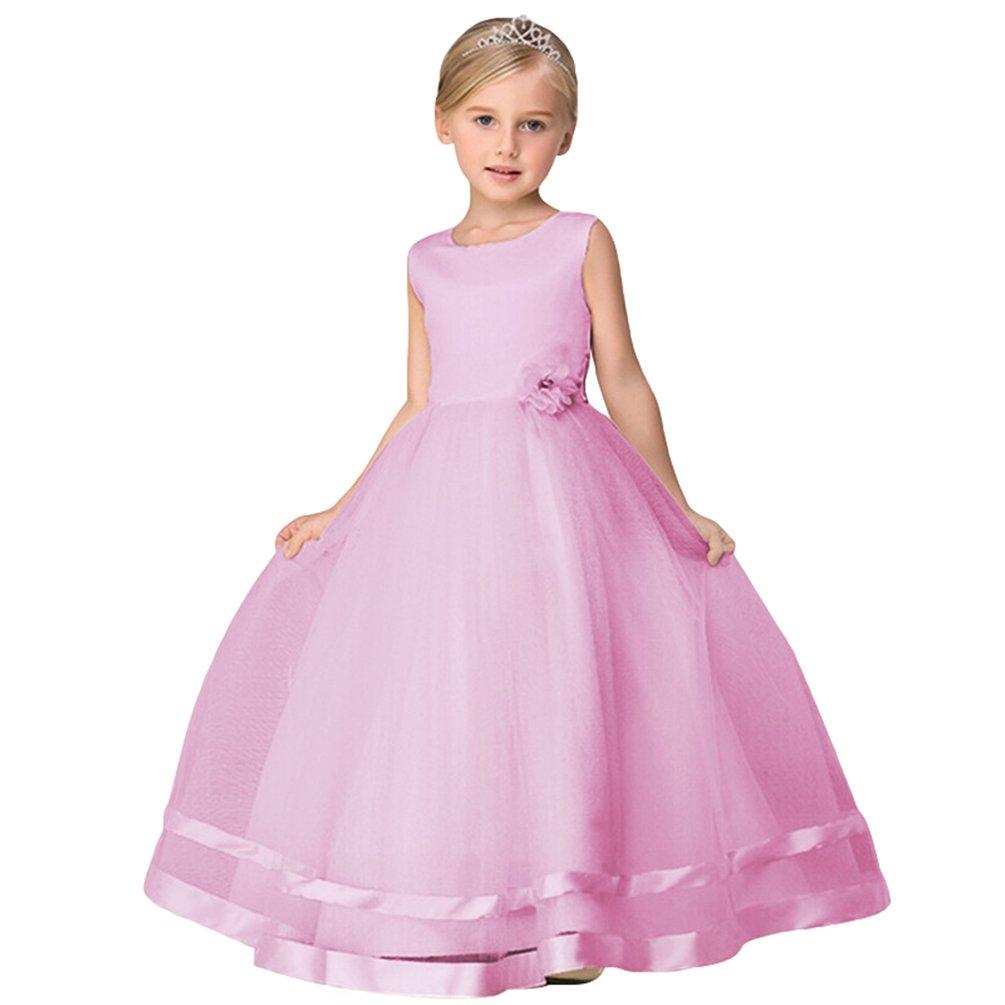 Tookang Color Puro Vestido De Flores para Niña Boda De Cumpleaños ...