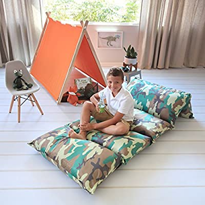 Kid's Floor Pillow Bed Cover - Use as Nap Mat, Portable Toddler Bed or inflatible air mattress alternative for Sleepovers, Travel, Napping, or as a Hangout Lounger for Reading, Playing. Cover Only!