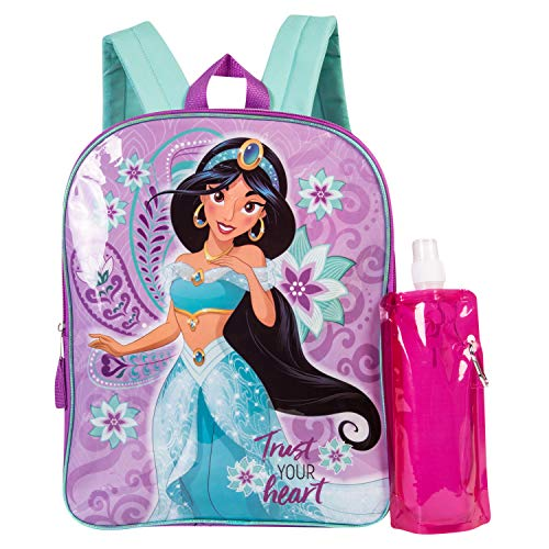 Disney's Aladdin Backpack Combo Set - Disney Aladdin Girls' 3 Piece Backpack Set - Jasmine Backpack, Waterbottle and Carabina (Pink/Purple)