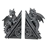 Design Toscano Castle Dragon Gothic Decor Decorative Bookend Statues, 8 Inch, Set of Two, Polyresin, Grey Stone