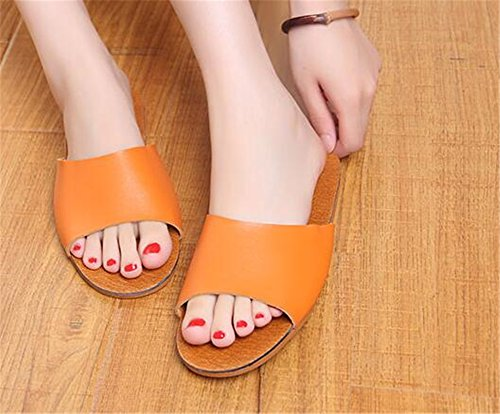 Corium Men Autumn Leather Cowhide Anti Orange Slippers Wooden TELLW W Spring Women Smelly for Summer Floor adw7BqB