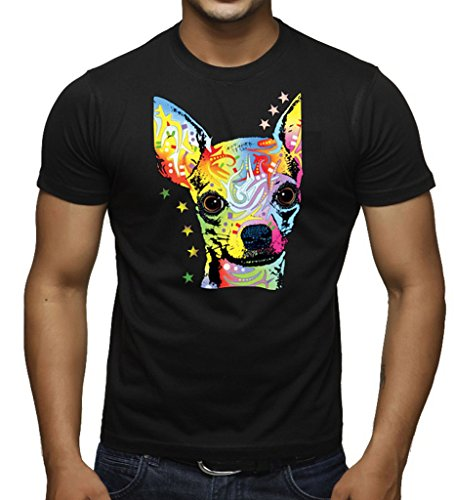 New Neon Chihuahua Dog Face Men's Black T-Shirt 3X-Large Black (Chihuahua Face T-shirt)