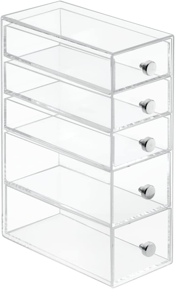 colore: trasparente pratico organizer ufficio per tenere in ordine cancelleria e accessori mDesign porta oggetti con 3 cassetti piccoli e 2 cassetti grandi ideale portadocumenti da scrivania