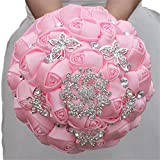 Product review for KUPARK Handmade Ribbon Rose Rhinestone Brooch Decor Bridal Bridesmaid Bouquet Home Wedding Decoration Gift for Birthday Valentine's Day