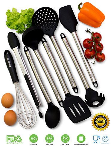 Cooking Utensils - 8 Piece Kitchen Utensils - Nonstick Utensil Set - Silicone and Stainless Steel Kit - For Pots and Pans - Serving Tongs, Spoon, Spatula Tools, Pasta Server, Ladle, Strainer, Whisk