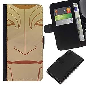 JackGot ( Tribal Face ) Sony Xperia Z3 D6603 la tarjeta de Crédito Slots PU Funda de cuero Monedero caso cubierta de piel