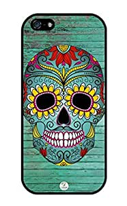iZERCASE iPhone 5, iPhone 5S Case Sugar Skull on Turquoise Wood Pattern RUBBER CASE - Fits iPhone 5, iPhone 5S T-Mobile, Verizon, AT&T, Sprint and International by runtopwell