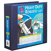 Avery Heavy-Duty View 3 Ring Binder with 3 Inch One Touch Locking D Ring, Navy Blue (79803)