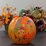 "CC Home Furnishings 9.5"" Decorative Harvest Orange Crackled Table Top Pumpkin with Cornucopia"