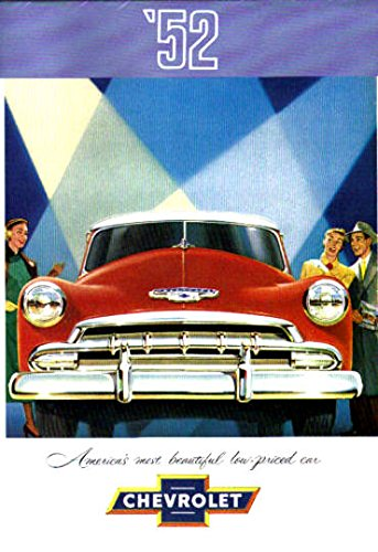 (BEAUTIFUL 1952 CHEVROLET DEALERS SALES BROCHURE For Fleetline, Bel Air, Styleline - Models -Deluxe 2-Door Sedan, Special 4-Door Sedan, Special Sport Coupe, Special Business Coupe, Convertible,)