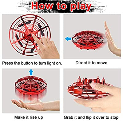 Camlinbo Flying Toys Drones for Kids Mini Drone, Flying Ball RC UFO Flying Saucer Toys Hand & Remote Controlled Quadcopter for Kid Light Up Flying Ball Toys Hover Birthday Gift for Kids(Red): Toys & Games