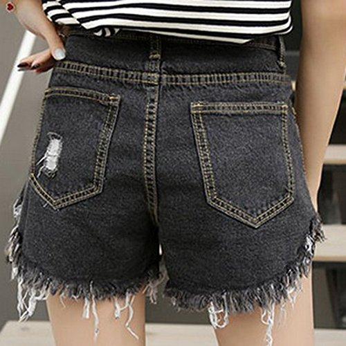 Dchirs Short Fonc Denim Plage Gris en Trou Femme Jeans Casual Pants Court Decha Haute Mini Pantalon Taille pour Hot UBIqz5w