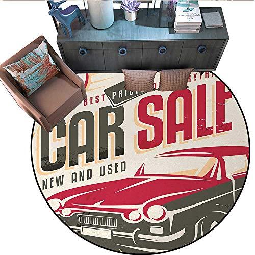 "Retro Round Floor Cover Nostalgic Car Sale Sign New and Used Auto Advertising American Style Urban Life Door mat Indoors Bathroom Mats Non Slip (67"" Diameter) Cream Grey Red"