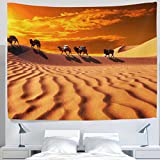 ALAZA Landscape Nature Tropical African Desert Sunset Camel Clouds Tapestry Wall Hanging Decor Light-weight Polyester Fabric Cottage Dorm Wall Art Home Decoration 80x60 Inches