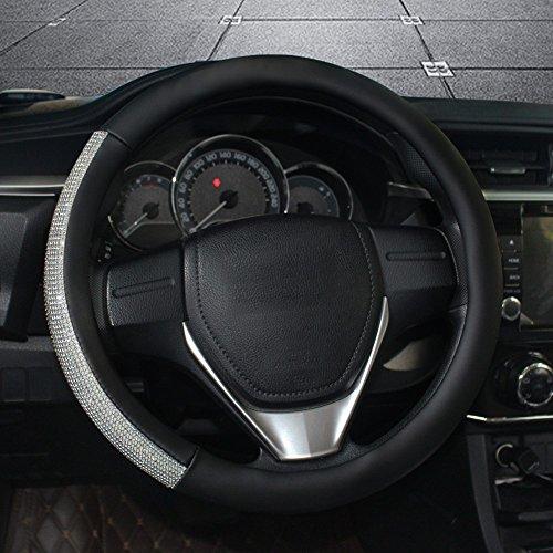 Bling Bling Rhinestones Car Steering Wheel Cover Leather Handcraft Steering Wheel Covers For Girls (Black)