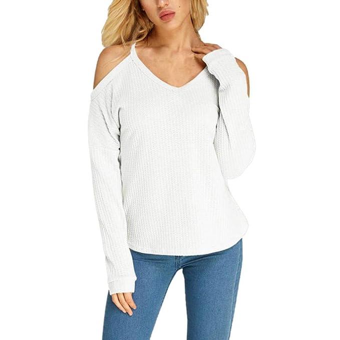 Camiseta de Manga Larga de Hombro frío para Mujer Blusas con Cuello en V
