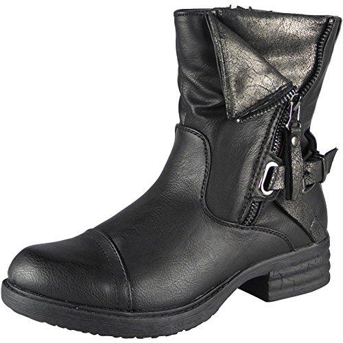 Neu Damen Armee Knöchel Reißverschluss Schnalle Winter Kampf Stiefel Größe 36-41 Schwarz