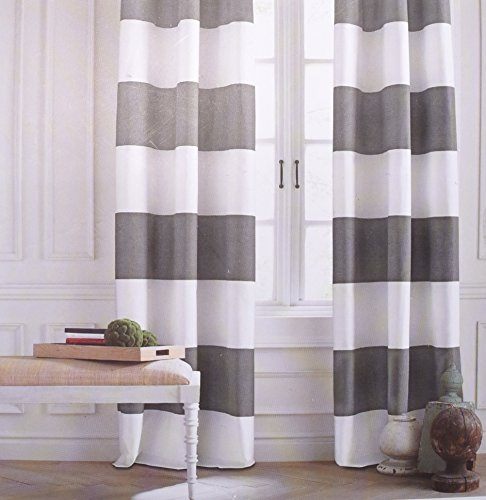 [Tommy Hilfiger Cabana Wide Stripes Curtains 2 Panels 50 by 84-inch Rod Pocket Contemporary Window Drapes Cotton 2 Panels Grey White Gray] (Stripe Rod Pocket Panel)