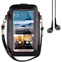 "Mini PU Leather Touch Screen Window Wallet Case for BLU Dash L3 / Grand M / Studio J5 / Tank Xtreme 4.0 / Alcatel A3 / U5 / Asus Zenfone Live 5"" + Vangoddy Earbud (Black / Red)"