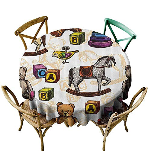 Jbgzzm Oil-Proof and Leak-Proof Tablecloth Vintage Decor Retro Style Toys Rocking Horse Teddy Bear and Bird Illustration Print Party D71 Brown and ()
